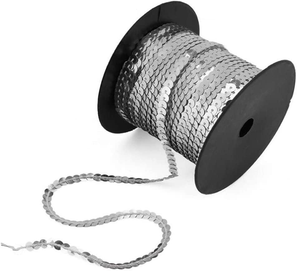 MOODCOME 100 Yards//Roll 6mm Sequin Strip Trim On Strings Flat Round Spangled Beads Trim Spool for Bag Shoe Dress Cell Phone Case,Black