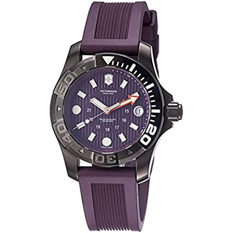 Victorinox Swiss Army Watch, Men's Dive Master 500m Purple Rubber Strap 38mm 241558 (Mens Swiss Army Watch Diver 500)