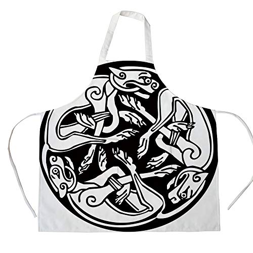 iPrint Cotton Linen Apron,Two Side Pocket,Celtic,Three Dogs Biting Their Tails Animal Forms Vikings Heritage Celtic Knots Medallion,Black White,for Cooking Baking Gardening