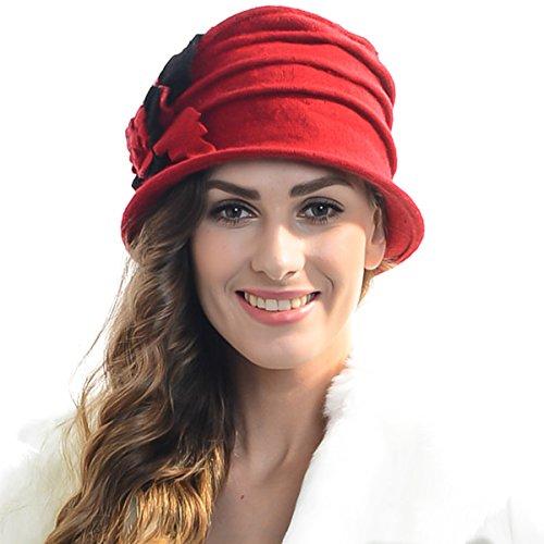 (Z&S Retro Women Floral Trimmed Wool Blend Cloche Winter Hat (Red))