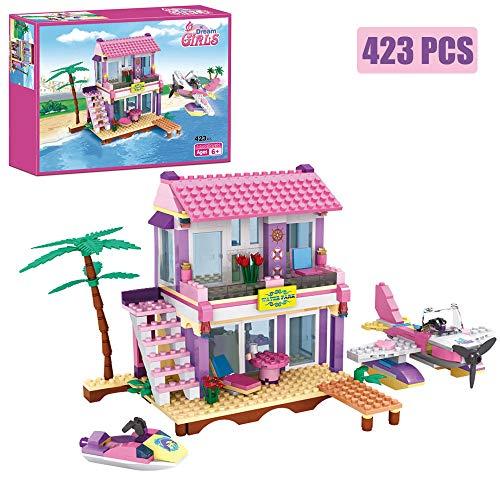 Dream Girls Building Blocks Toys Friends Building Set Big Beach Villa with Plane and Jet Ski Fun Preschool Educational toys for Boys and Girls 423Pcs