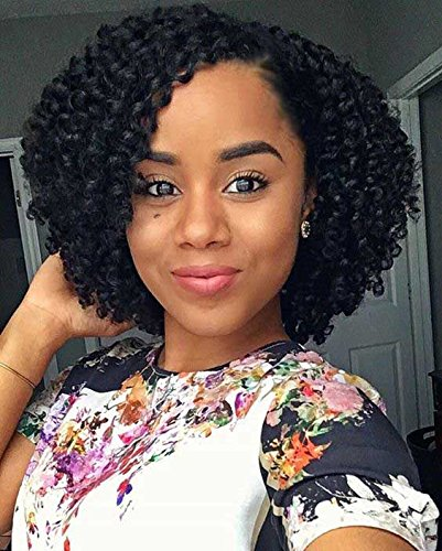 Wigs for Black Women Short Bob Curly Synthetic Lace Front Wigs Black Color Heat Resistant Synthetic Fiber - Milano Anime Costumes