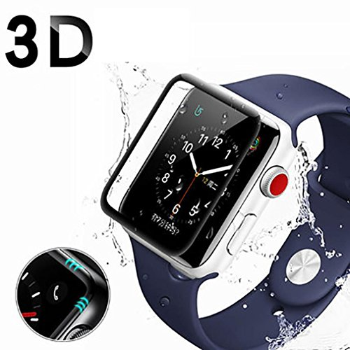 Fullscreen Box (Case Cover Screen Protector for Appe Watch,YJYdada Full Screen Curved Edge Temperature Protection For Apple Watch Series 1/2/3 42mm 38mm (38mm))