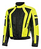 Olympia Moto Sports MJ410 Men's Airglide 5 Mesh Tech Jacket (Neon Yellow/Black, Large)