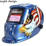 Welding Helmet, Solar Automatic Darkening Welding Hood Helmet Arc Tig Mig Professional Mask with Adjustable Shade Blue Eagle Design & US STOCK