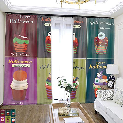 Curtain Gauze Cupcake Vector Set Happy Halloween Scary Sweets Poster W108 x L78 Block The Sun Highprecision Curtains for bedrooms Living Rooms Kitchens etc. ()