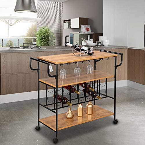 Henf Industrial Rolling Bar Serving Cart with Wine Rack and Glass Holder, Mobile Wine Carts and Kitchen Storage Carts with Wheels and Handle, Style 2