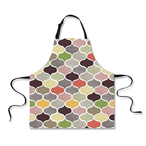 iPrint BBQ Apron,Modern Decor,Seamless Oriental Geometric Morrocan Doodle Pattern with Dots and Blank Colors Art,Multi, Apron.29.5