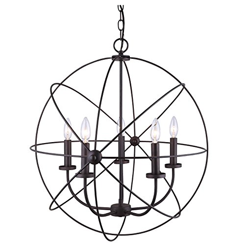 Chandelier 5 Light Orb Sphere Hanging Ceiling Pendant Globe Oil Rubbed Bronze Review