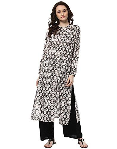 (Jaipur Kurti Women Indian Casual Long Tunic Printed Straight Crepe Kurta & Palazzo (Grey & Black))