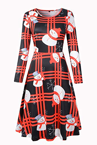 KACULE Womens Christmas Santa Claus Christmas Tree Xmas Hat Snowman Bell Cute Flared A-Line Dress