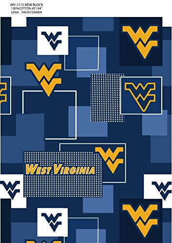WEST VIRGINIA COTTON FABRIC-WEST VIRGINIA MOUNTAINEERS 100% COTTON FABRIC SOLD BY THE YARD-NEWEST (Stores In West Virginia)