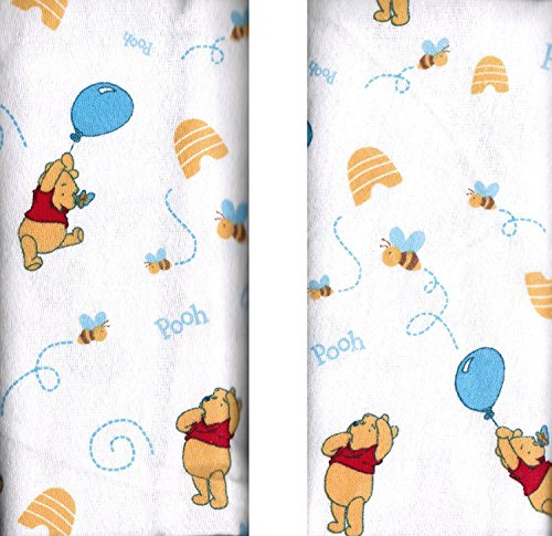 "Disney Winnie The Pooh Receiving Blankets. Two Pack of Varied Prints and Styles. Boy 30"" x 30"""