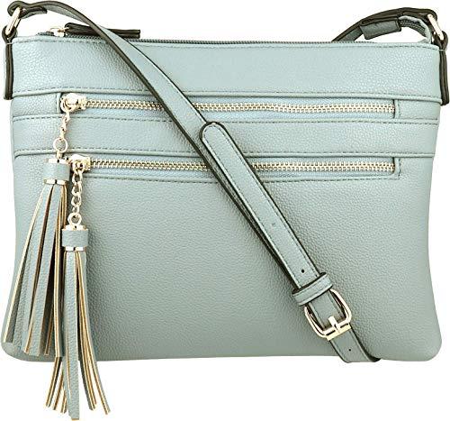 - B BRENTANO Vegan Multi-Zipper Crossbody Handbag Purse with Tassel Accents (Opal Blue)