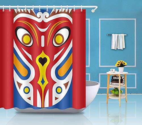 GETTOGET Facial Makeup Digital Printing Shower Bathroom Sets Hooks,Waterproof Polyester Curtain