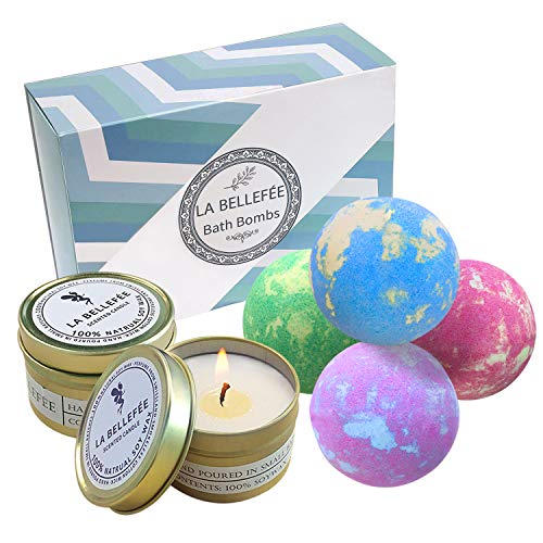 - LA BELLEFÉE Bath Bombs Gift Set, Perfect for Bubble & Spa Bath to Moisturize Dry Skin. Christmas Birthday Gift Ideas for Women, Lovers, Friends, Girlfriend(4 x 4.1 oz Bath Bombs & 2 x Scented Candles)