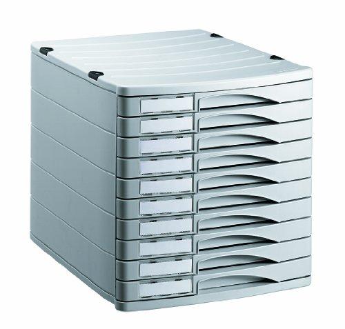 Rotho 1107106189 Schubladenbox Bürobox Profiline aus Kunststoff (PS), 10 geschlossene Schübe, A4-Format, mit Beschriftungsfeldern, hochwertige Qualität, ca. 38.5 x 29.5 x 30.5 cm, grau
