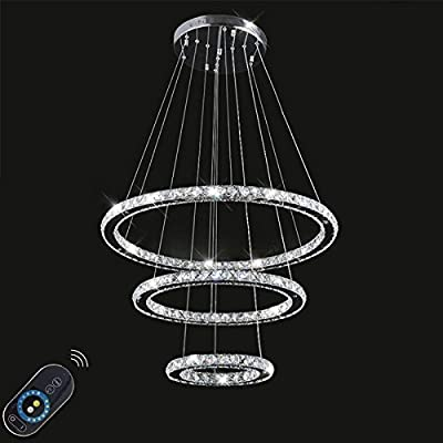 LightInTheBox Dimmable LED K9 Crystal Chandelier Lighting Lamps Transparent Round 3 Rings Light Fixture Stepless Dimming (With Remote Control) 110-120V Cold White