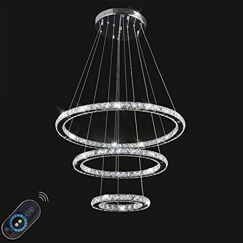 LightInTheBox Dimmable LED K9 Crystal Chandelier Lighting Lamps Transparent Round 3 Rings Light Fixture Stepless Dimming with Remote Control 110-120V Cold White