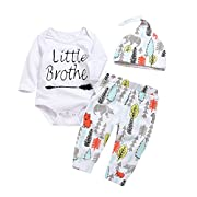 Mekilyn 3Pcs Baby Boy Girls Little Brother Arrow Romper Bodysuit+Long Cartoon Animal Pant+Hat Outfit (0-6Months, White)