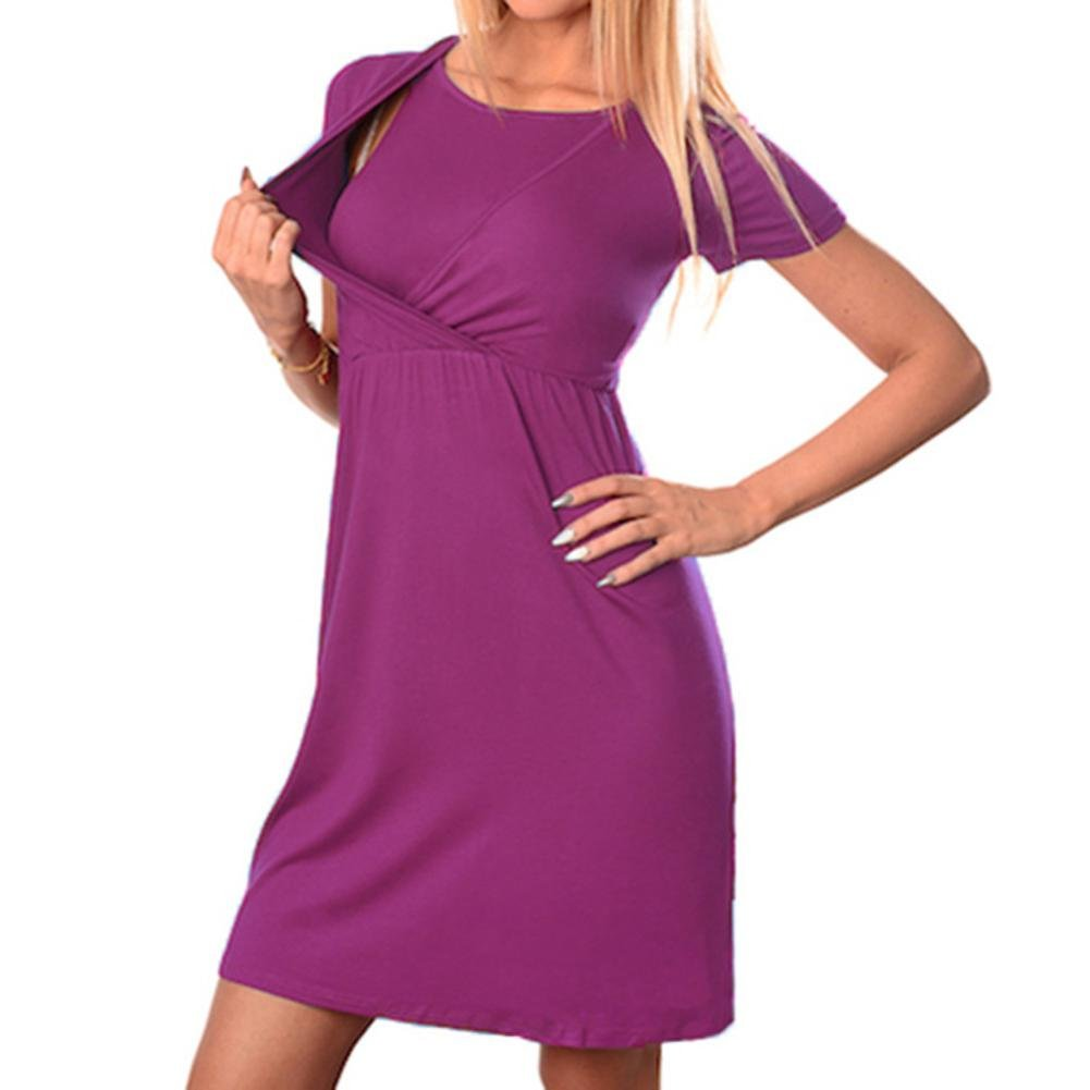 Diadia Women Breastfeeding Clothes Women's Maternity Nursing Wrap High waist Dress Short Sleeve Double Layer Dress- High Waist Dress