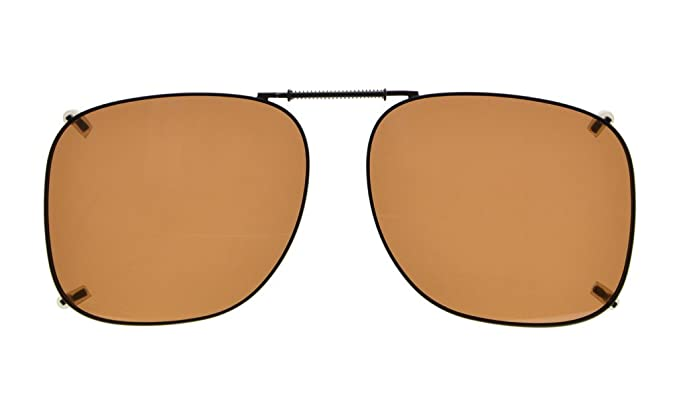 d0ea0d3214 Eyekepper Metal Frame Rim Polarized Lens Clip On Sunglasses 53   46MM Brown  Lens  Amazon.co.uk  Clothing