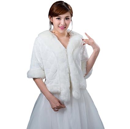 Jungen mujeres del vestido de novia chaqueta Bolero abrigo para invierno de piel sintética color blanco