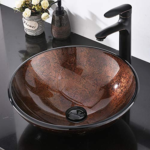 Modern Artistic Bathroom Round Tempered Glass Vessel Sink, Above Counter Bathroom Lavatory Vanity Bowl Basin (Brown)