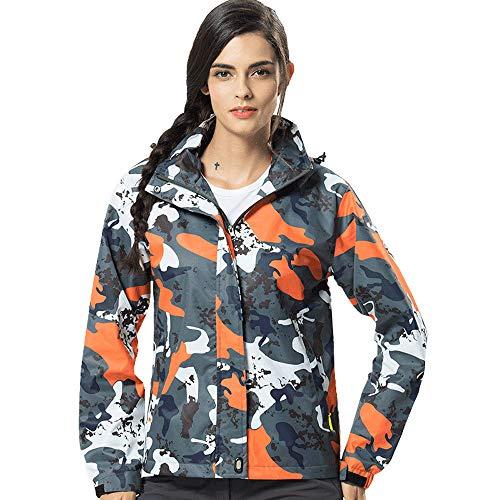 (iDWZA Women's Winter Hoodie Soft Shell Camouflage Waterproof Windproof Outdoor Coat(Orange,M))