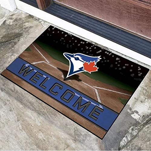 1 Pc Multi MLB Toronto Blue Jays Door Mat Rug,Beautiful American Baseball League Team Soft 18 X 30 Rug, Non-Slip Backing Heavy Duty Rubber Sports Theme Comfortable 3D Molded Welcome Mat Outdoor Rug (Blue Rug Jays Baseball Toronto)
