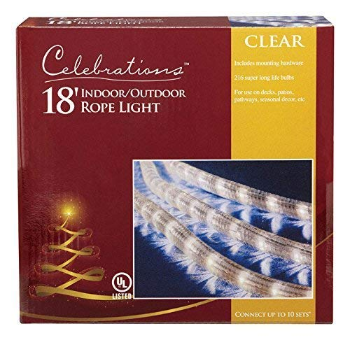 - Celebrations Clear PVC Rope Lights with 216 Lights, 18-Feet, Clear - 2 Pack