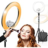 KimOutlet,LED 18 inch Ring Light Multi Color Temperature 3200K–5600K and Dimmable with Camera Adapter & Height Adjustable Photo Studio Light Stand Tripod,1/4inch Dual Nuts Cold Shoe Adapter, AGG2872