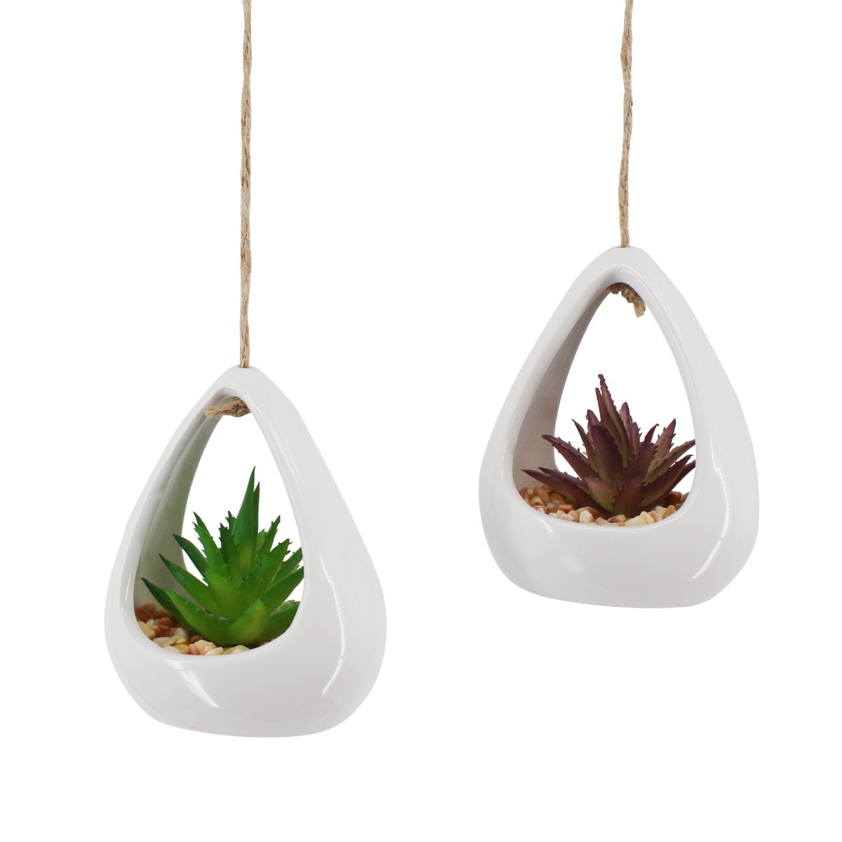 Greatflower Pack of 2 Hanging Plants Tear-Shaped Ceramic Pot with Artificial Succulent