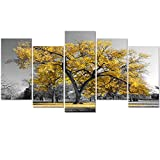 always remember wall panel - Visual Art Decor Modern Black and White Canvas Wall Art Giclee Prints Autumn Forest Tree Wall Decor Art Nature Picture Living Room Decor Art Ready to Hang (Gold Xlarge)