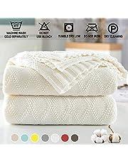 Shaddock Couverture 100% Coton Tricot Diamant de Couverture Chauffante Jeté de Canapé Couvre Lit Blanket Sofa Fauteuil Décoration