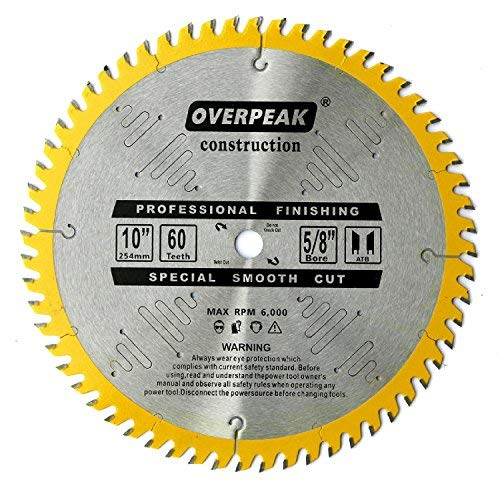 60 5/8 Teeth Arbor (Overpeak 10-Inch Circular Saw Blade 60 Tooth ATB Cutting Crosscutting Miter Saw Blades with 5/8'' Arbor)
