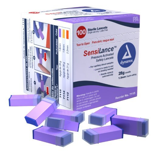 Dynarex SensiLance Safety Lancets Press Activated 28g St 10/100/Cs