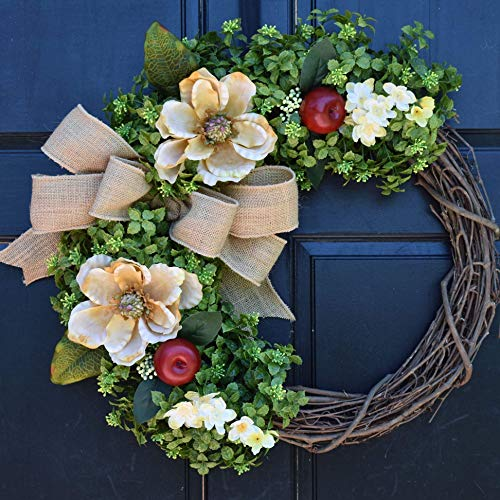 Boxwood Grapevine Wreath with Cream Magnolias, Red Apples, Floral Accents and Burlap Bow for Summer Fall Farmhouse Front Door - Cream Magnolia Floral