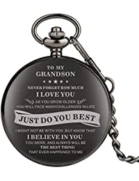 "Engraved Pocket Watch, Grandson Gifts, Personalized Watch Pocket,""to My Husband"" Pattern Kids Boy Watches Steampunk Clock"