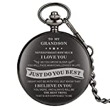Engraved Pocket Watch, Grandson Gifts, Personalized