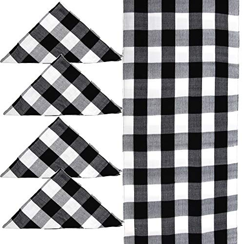 Dhana&B 4 Home Decor Cotton Napkin Black & White Checked Square Decorations for Dining, Easter, Thanksgiving,Christmas 19x19 and 1 Table Runner 14x72 Inches for Dinners or Gathering, Party