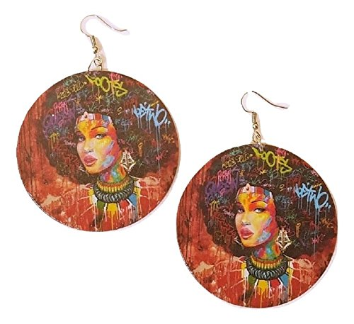 African Pretty Lady Wood Earrings