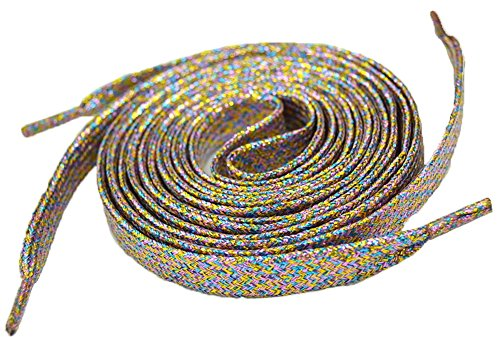 "Shoeslulu 46"" Premium Flat Colorful Fashion Sneakers Shoelaces ([Flat] 46 in. (117 cm), Golden Carnival Night [Glitter])"