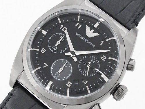 Emporio Armani Croograph Watch for Men AR0393 With Black Leather