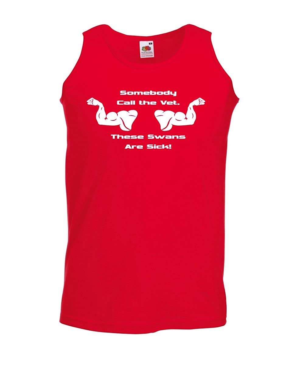 Call the vet, these swans are sick Funny Mens Vests Tank Top Gym Muscle Men