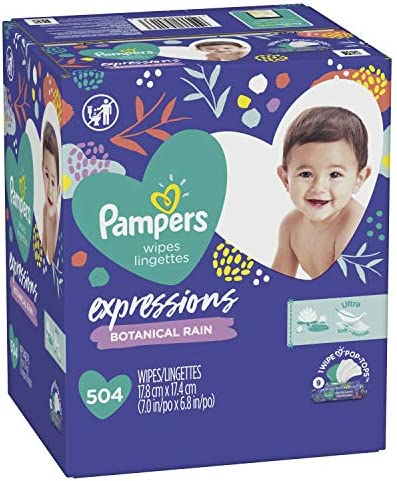 510ope0EAuL. AC - Baby Wipes, Pampers Expressions Baby Diaper Wipes, Hypoallergenic, Botanical Rain Scent, 9X Pop-Top Packs, 504 Count