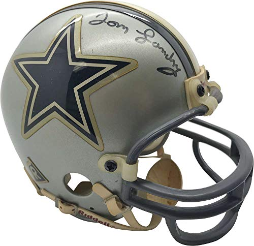 Tom Landry Signed Autographed Dallas Cowboys Mini Helmet Beckett BAS
