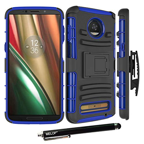 Moto Z3 Play Case, Moto Z3 Case, MELOP Three Layer Swivel Belt Clip with Kickstand Holster Built-in Armor Case Cover for Motorola Moto Z3 Play - Blue