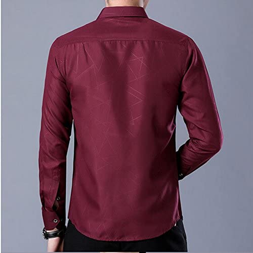 Nanquan Men Formal Floral Print Slim Fit Long Sleeve Button Down Flannel Shirts
