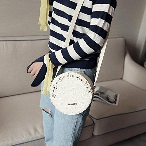 White Hunpta Zipper Round Bag Bag Lace Messenger Shoulder Women Tote Handbag Floral Bag r6qfArZ7x